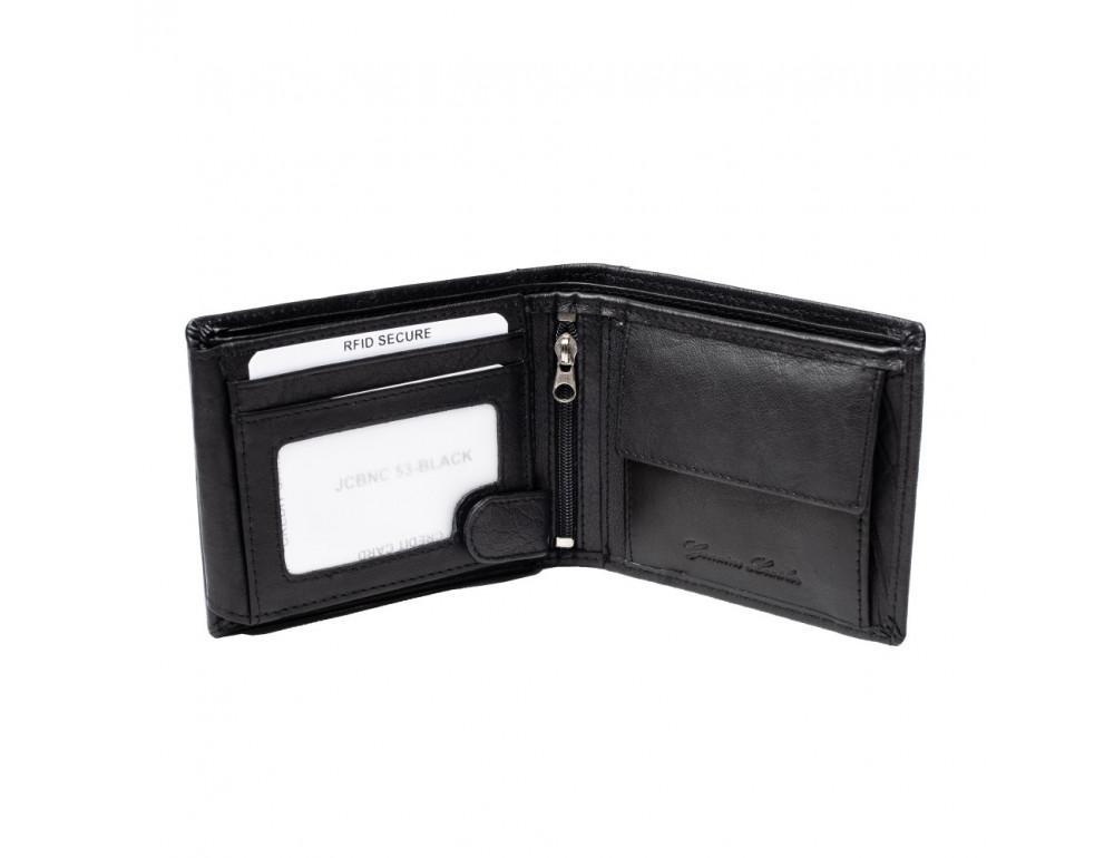 Мужской кожаный кошелёк без засчёлки JCB JCBNC53 BLK - Фото № 4
