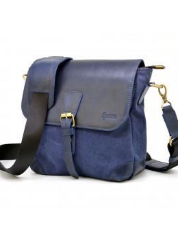 Синяя молодёжная сумка из ткани и кожи TARWA KK-1309-4lx