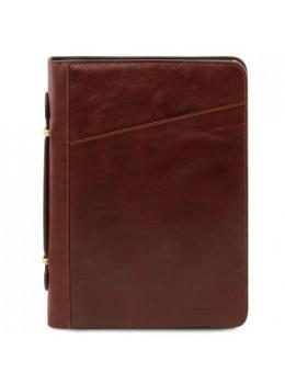 Коричневая кожаная папка под документы CLAUDIO Tuscany Leather TL141404 Brown