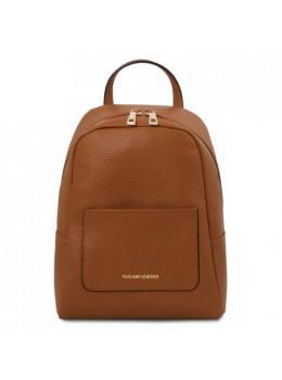 Коричневий шкіряний жіночий рюкзак Tuscany Leather TL142052 COGNAC