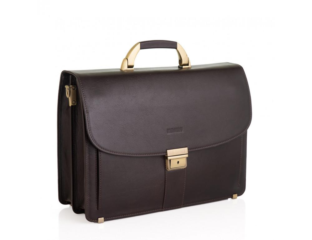 Коричневый мужской кожаный портфель Newery N1587GC