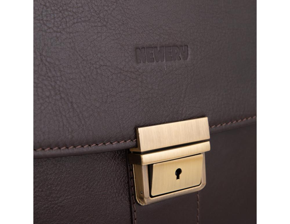 Коричневый мужской кожаный портфель Newery N1587GC - Фото № 11