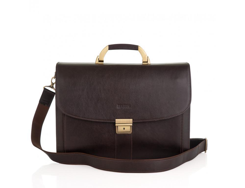 Коричневый мужской кожаный портфель Newery N1587GC - Фото № 12