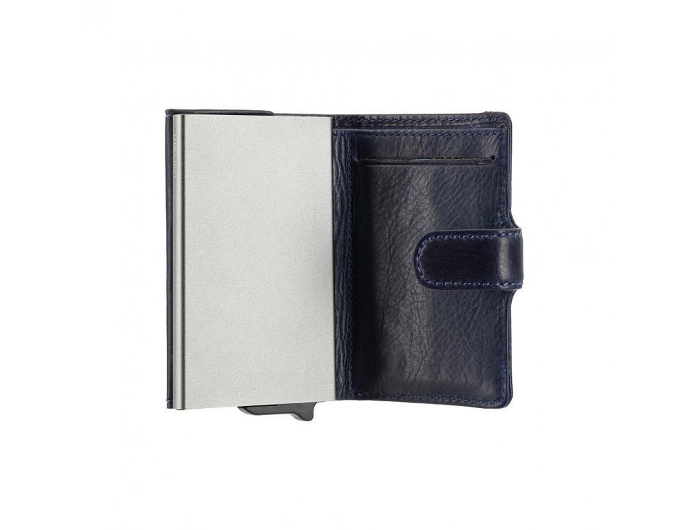 Синий кожаный кошелёк картхолдер Visconti VSL59 BLUE Fireblade (Blue) - Фото № 3