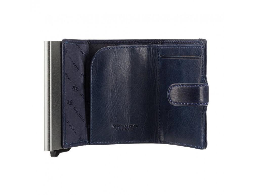 Синий кожаный кошелёк картхолдер Visconti VSL59 BLUE Fireblade (Blue) - Фото № 4
