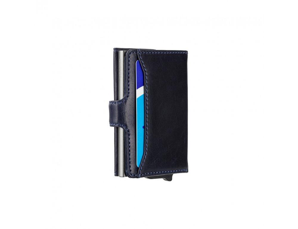Синий кожаный кошелёк картхолдер Visconti VSL59 BLUE Fireblade (Blue) - Фото № 5