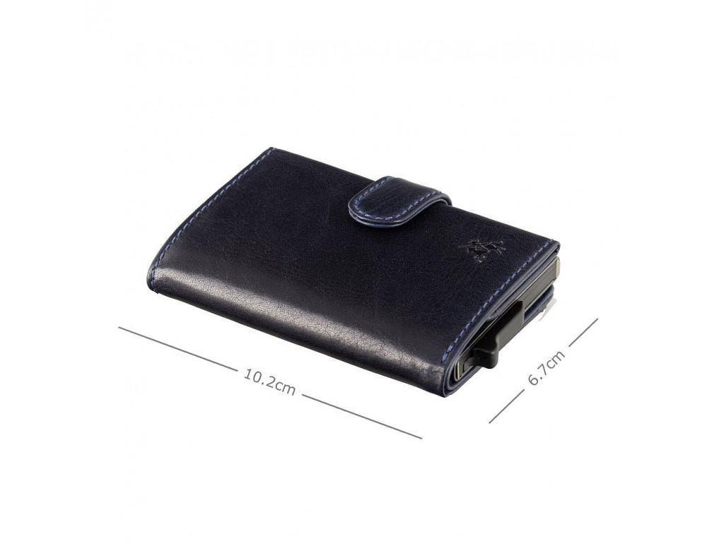 Синий кожаный кошелёк картхолдер Visconti VSL59 BLUE Fireblade (Blue) - Фото № 6