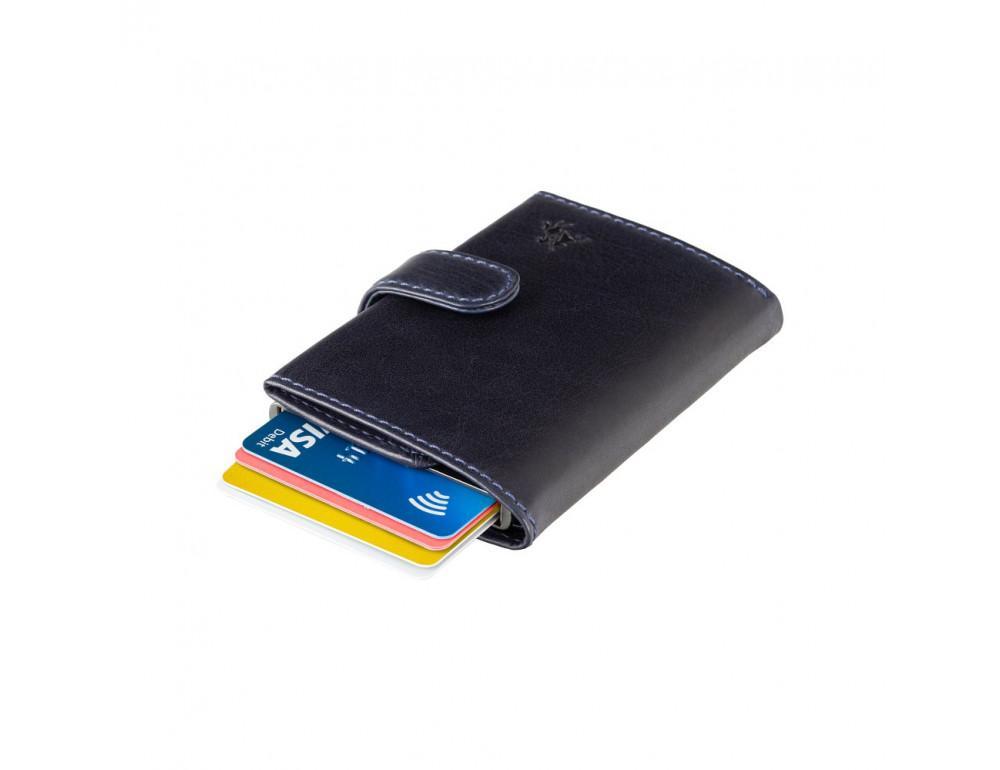 Синий кожаный кошелёк картхолдер Visconti VSL59 BLUE Fireblade (Blue) - Фото № 8