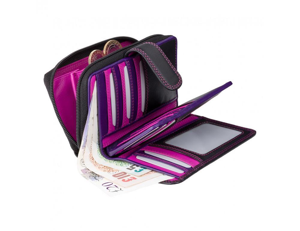 Стильный женский кошелёк Visconti R13 BLK/BERRY Carmelo c RFID (Black Berry) - Фото № 3