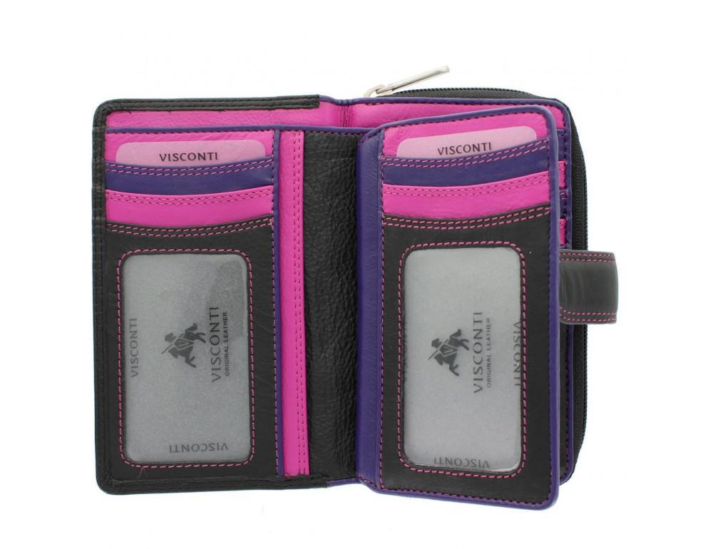 Стильный женский кошелёк Visconti R13 BLK/BERRY Carmelo c RFID (Black Berry) - Фото № 5