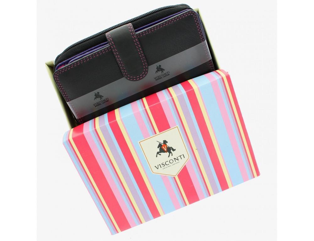 Стильный женский кошелёк Visconti R13 BLK/BERRY Carmelo c RFID (Black Berry) - Фото № 8