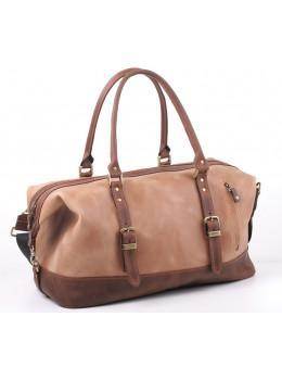 Кожаная дорожная сумка из винтажной кожи Manufatto №7 крейзи хорс светлый