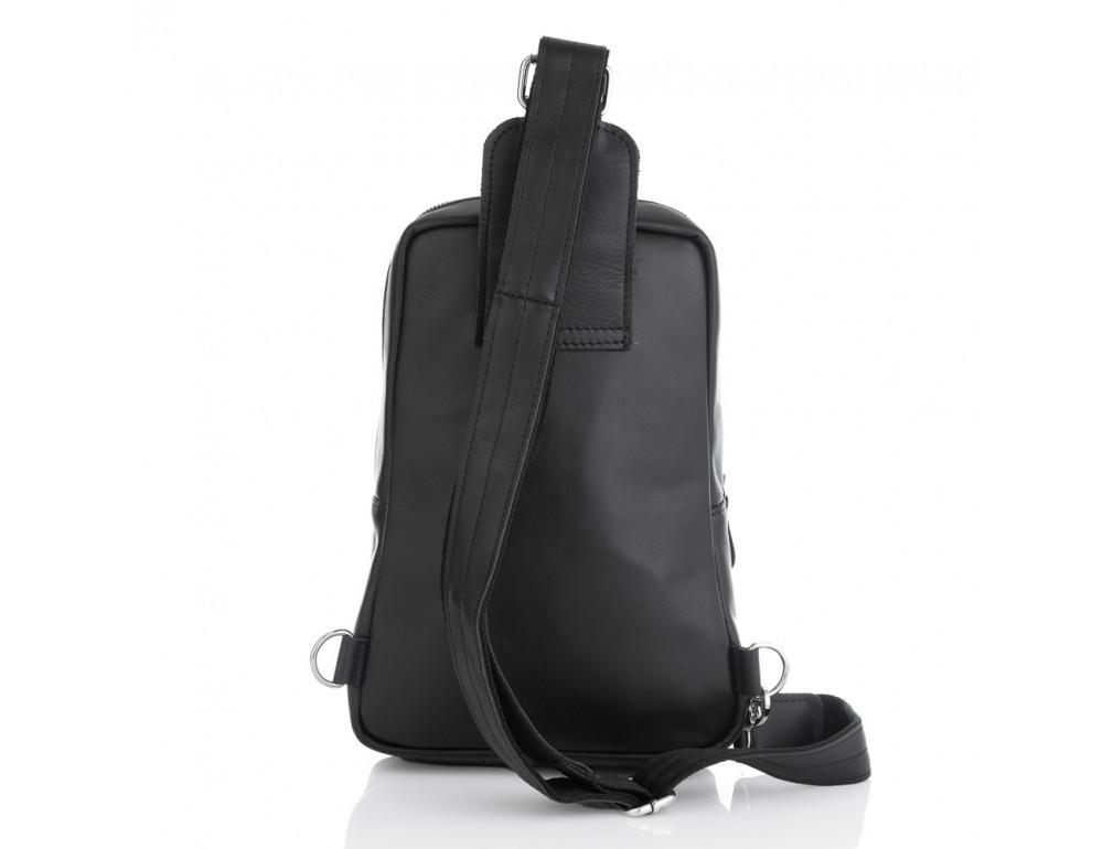 Чёрная кожаная сумка слинг среднего размера Newery N41719GA - Фото № 2
