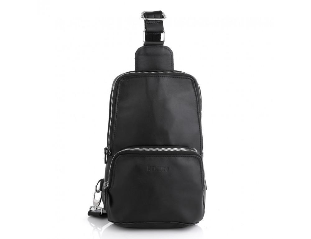 Чёрная кожаная сумка слинг среднего размера Newery N41719GA - Фото № 3