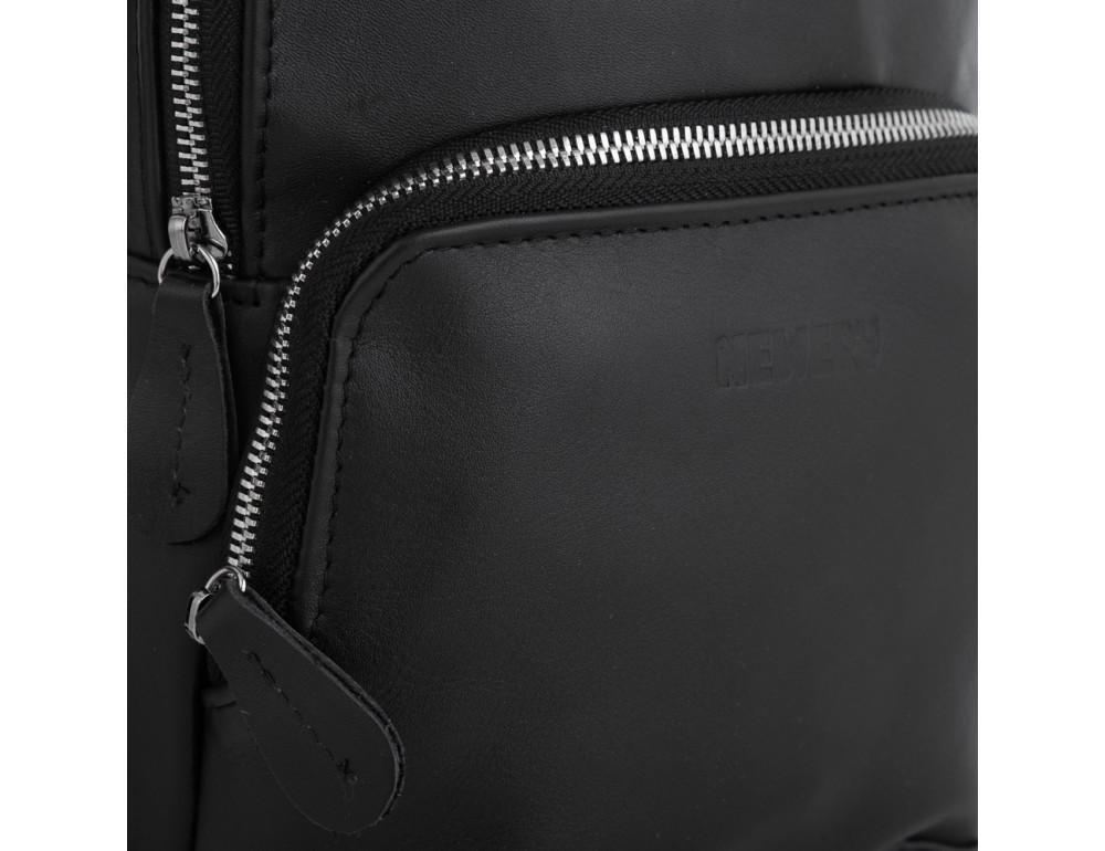 Чёрная кожаная сумка слинг среднего размера Newery N41719GA - Фото № 4