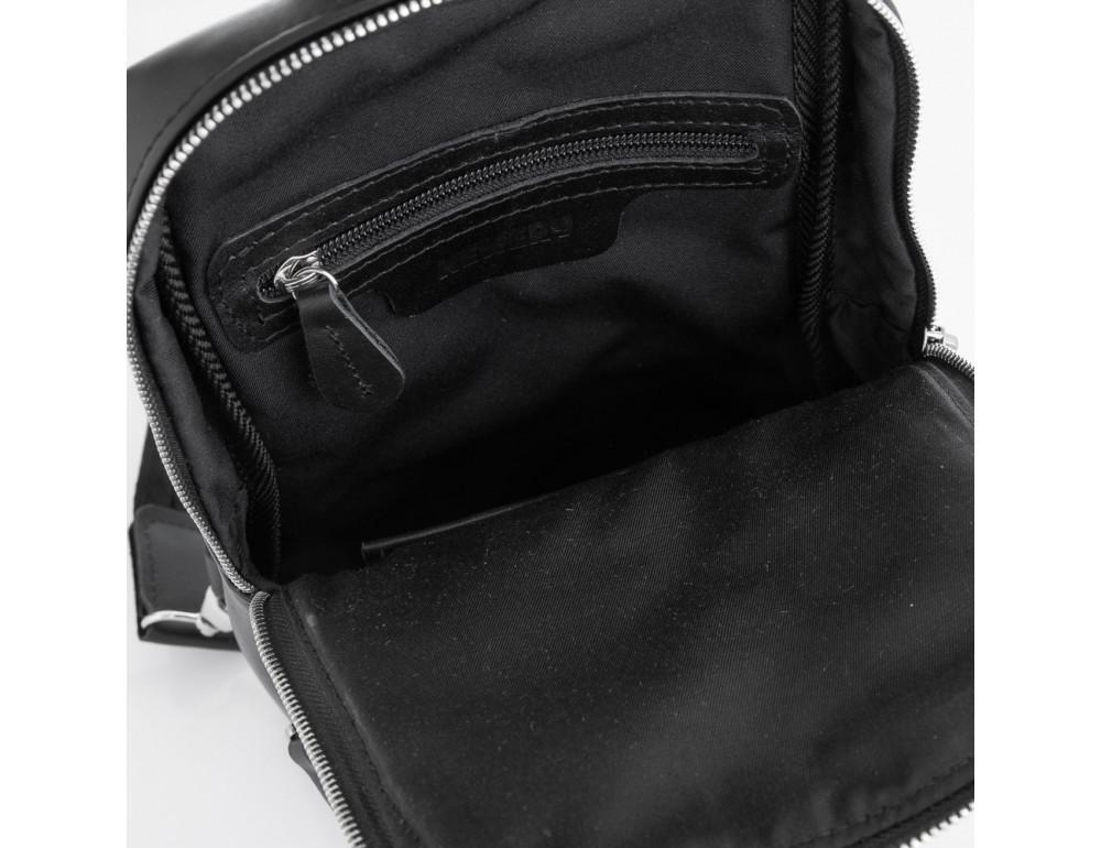 Чёрная кожаная сумка слинг среднего размера Newery N41719GA - Фото № 5