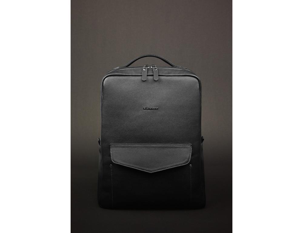 Кожаный женский рюкзак чёрного цвета Blanknote НУАР BN-BAG-19-NOIR - Фото № 2