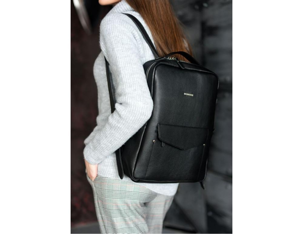 Кожаный женский рюкзак чёрного цвета Blanknote НУАР BN-BAG-19-NOIR - Фото № 1