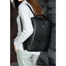 Кожаный женский рюкзак чёрного цвета Blanknote НУАР BN-BAG-19-NOIR