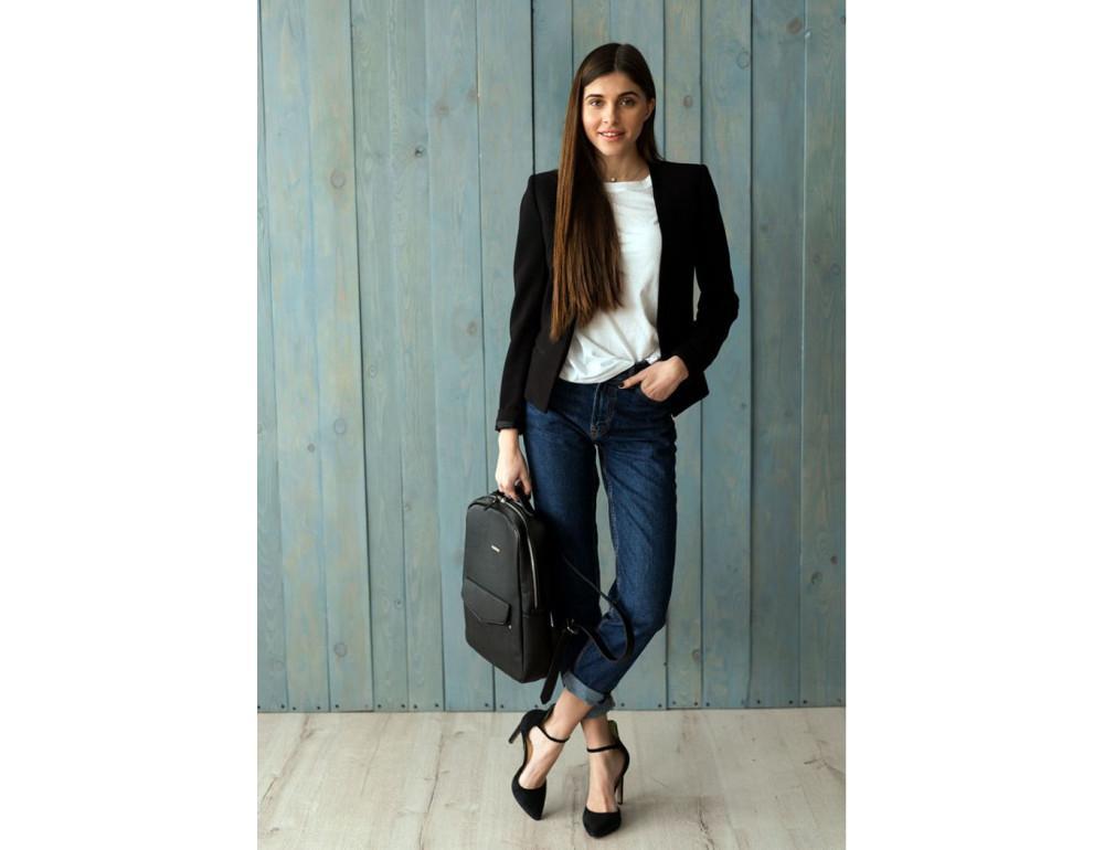 Кожаный женский рюкзак чёрного цвета Blanknote НУАР BN-BAG-19-NOIR - Фото № 6