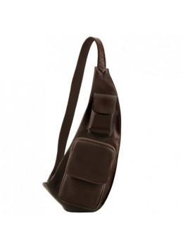 Темно-коричневая кожаная сумка слинг Tuscany Leather TL141352 Dark Brown