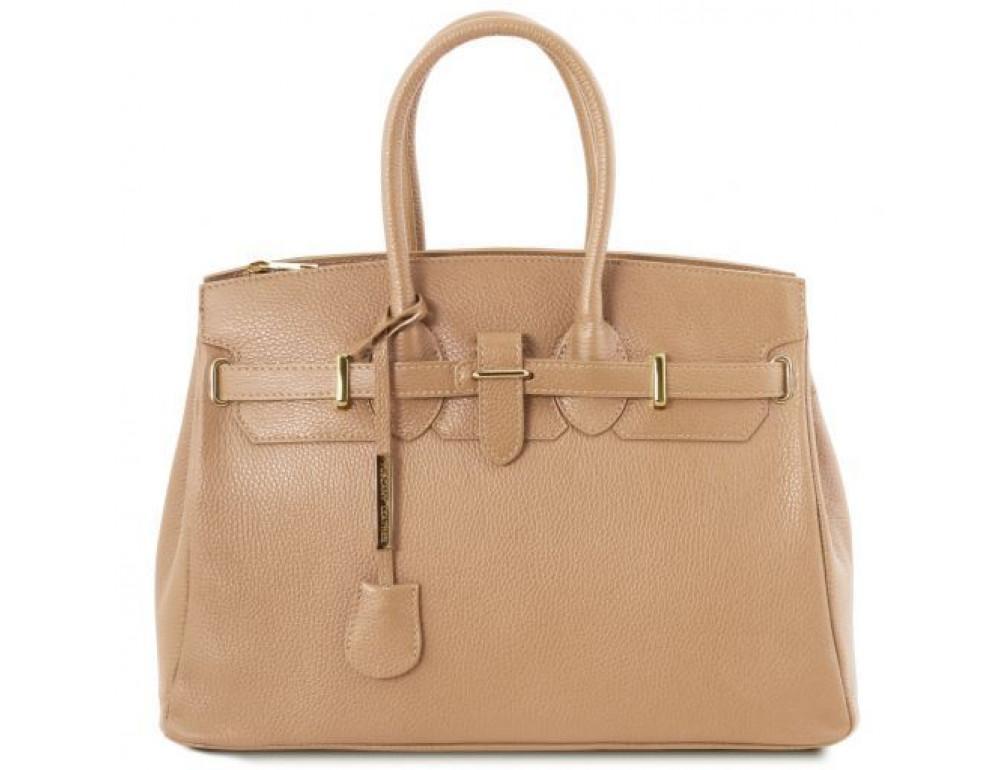 Большая бежевая женская кожаная сумка Tuscany Leather TL141529 CHAMPAGNE - Фото № 1
