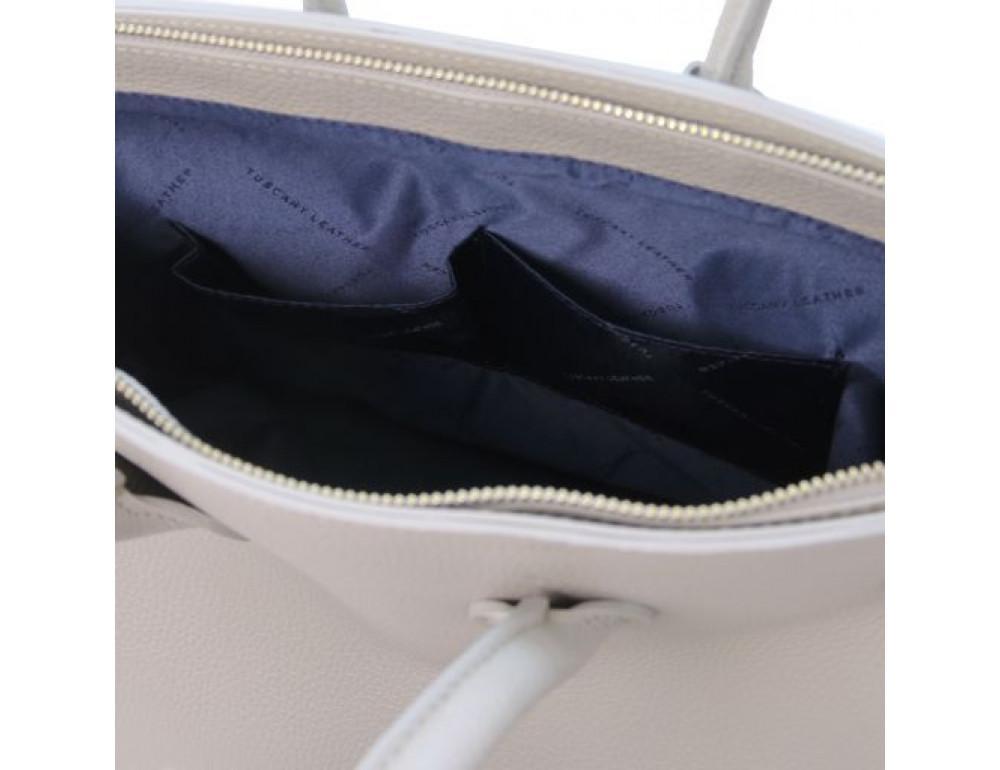 Кожаная женская сумка Tuscany Leather TL141529 LIGHT GREY - Фото № 6