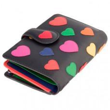 Чёрный кошелек женский Visconti LV4 BK MULTI Crush c RFID (Black-Multi Love)