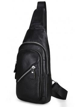 Чёрная кожаная сумка слинг Tiding Bag M15-6603A