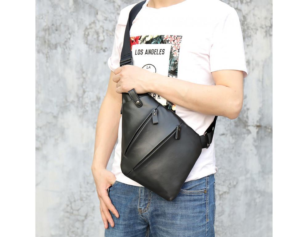 Чёрная кожаная сумка слинг через плечо Tidin Bag M7323A - Фото № 2