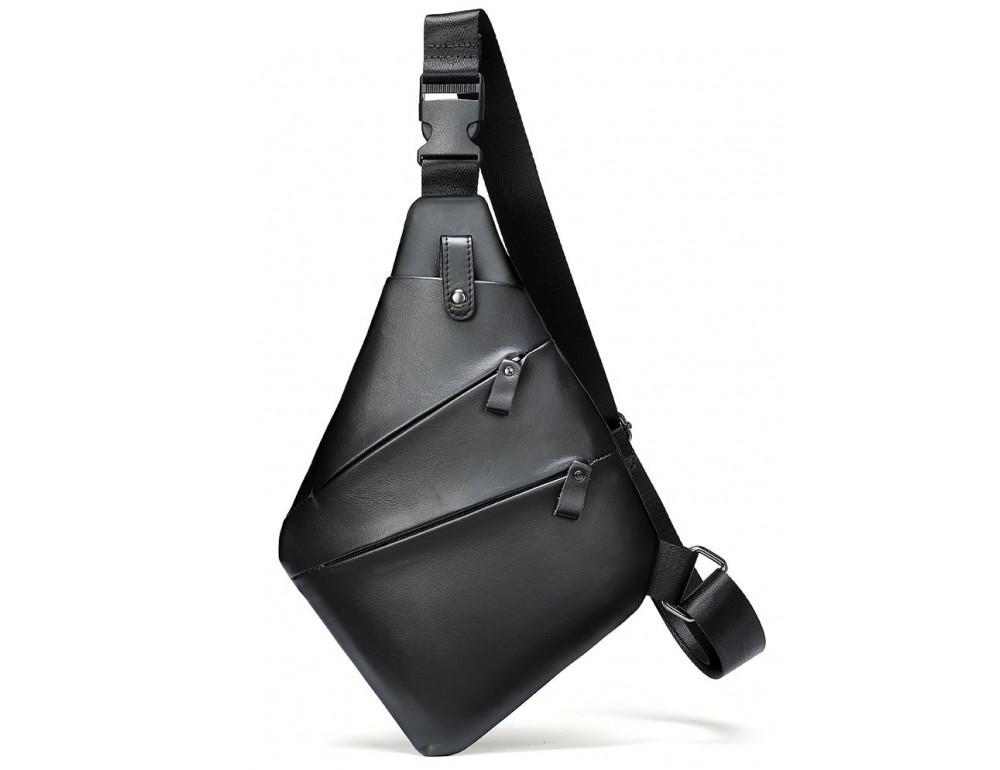 Чёрная кожаная сумка слинг через плечо Tidin Bag M7323A - Фото № 1