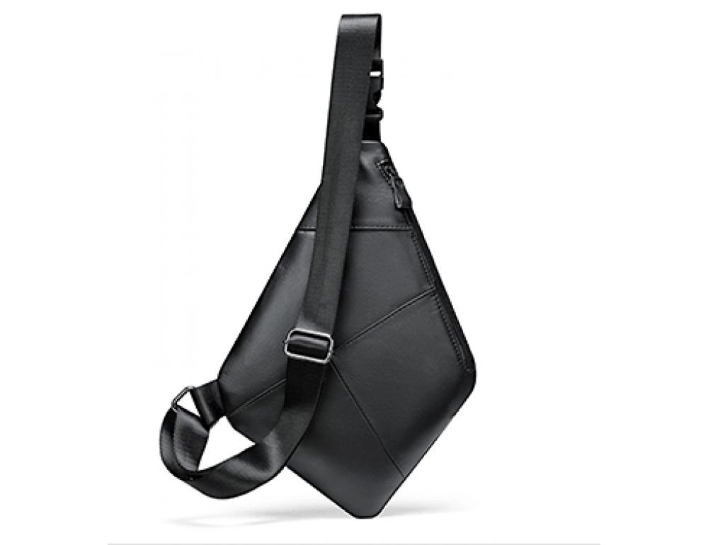 Чёрная кожаная сумка слинг через плечо Tidin Bag M7323A - Фото № 5