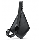 Чёрная кожаная сумка слинг через плечо Tidin Bag M7323A - Фото № 104
