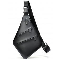 Чёрная кожаная сумка слинг через плечо Tidin Bag M7323A