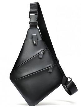 Чорна шкіряна сумка слінг через плече Tidin Bag M7323A