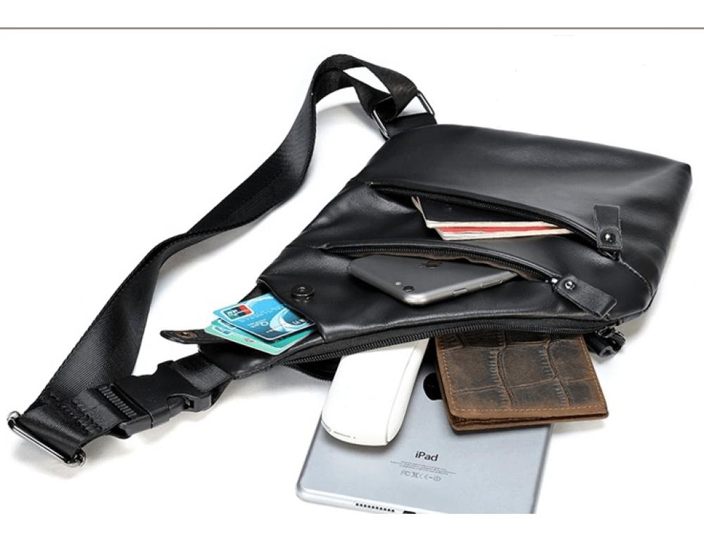 Чёрная кожаная сумка слинг через плечо Tidin Bag M7323A - Фото № 7