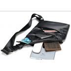 Чёрная кожаная сумка слинг через плечо Tidin Bag M7323A - Фото № 106