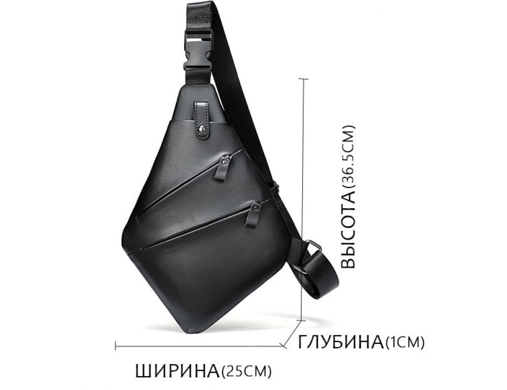 Чёрная кожаная сумка слинг через плечо Tidin Bag M7323A - Фото № 3
