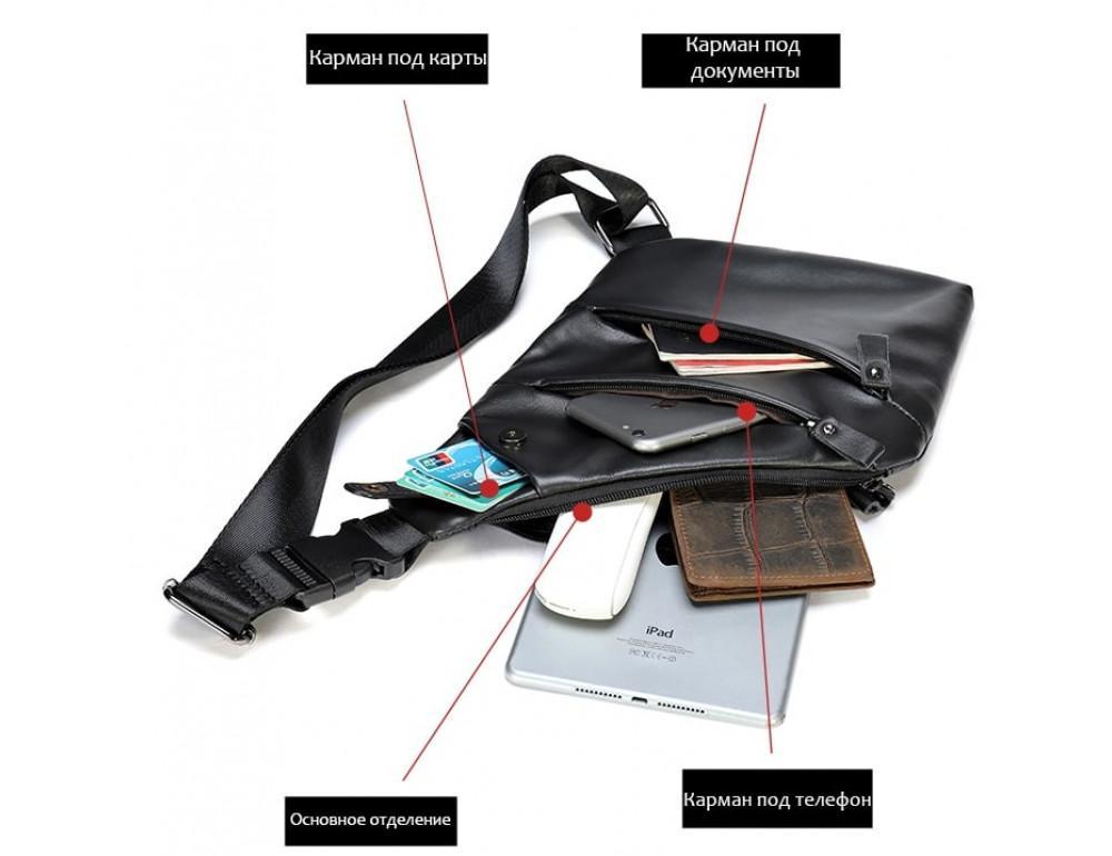 Чёрная кожаная сумка слинг через плечо Tidin Bag M7323A - Фото № 4