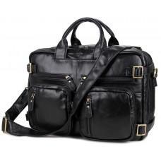 Чорна шкіряна сумка-рюкзак TIDING BAG M36-341A