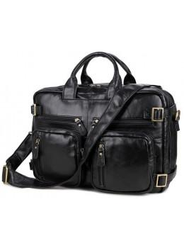 Чёрная кожаная сумка-рюкзак TIDING BAG M36-341A