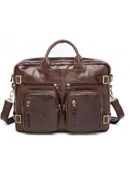 Коричневая кожаная сумка-трансформер TIDING BAG  M36-341C