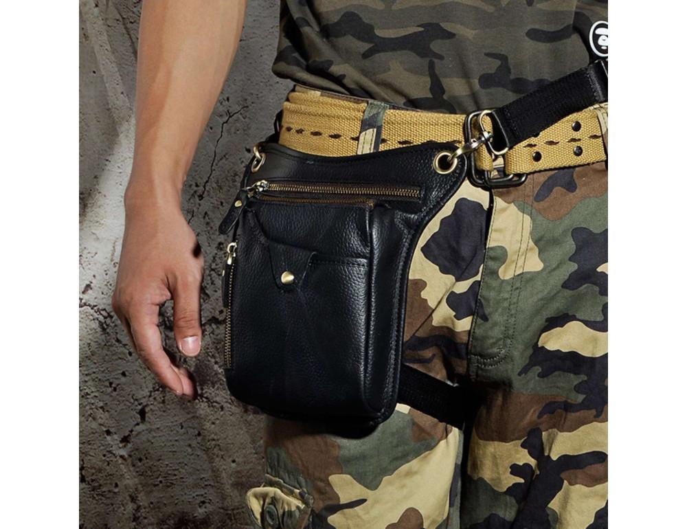 Мужская кожаная сумка на пояс с креплением на ногу Tiding Bag m38-9667a - Фото № 2