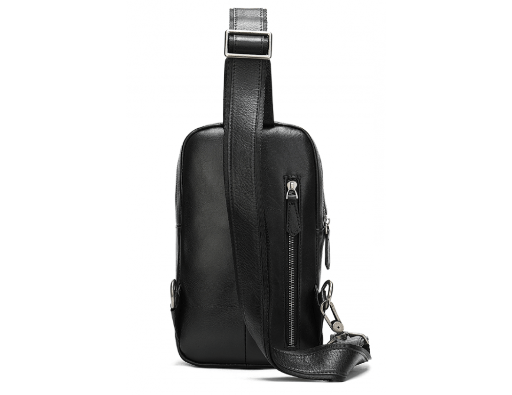 Чёрная кожаная сумка слинг Tiding Bag M7019A - Фото № 2