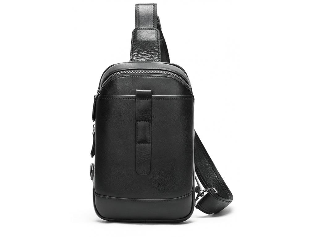 Чёрная кожаная сумка слинг Tiding Bag M7019A - Фото № 1