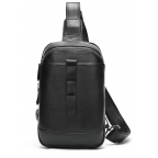 Чёрная кожаная сумка слинг Tiding Bag M7019A - Фото № 100