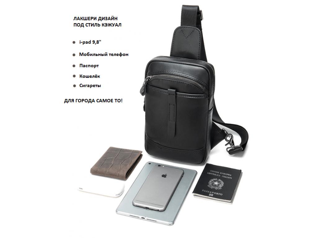 Чёрная кожаная сумка слинг Tiding Bag M7019A - Фото № 3