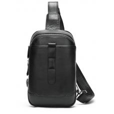 Чёрная кожаная сумка слинг Tiding Bag M7019A