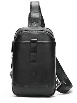Чорна шкіряна сумка слінг Tiding Bag M7019A