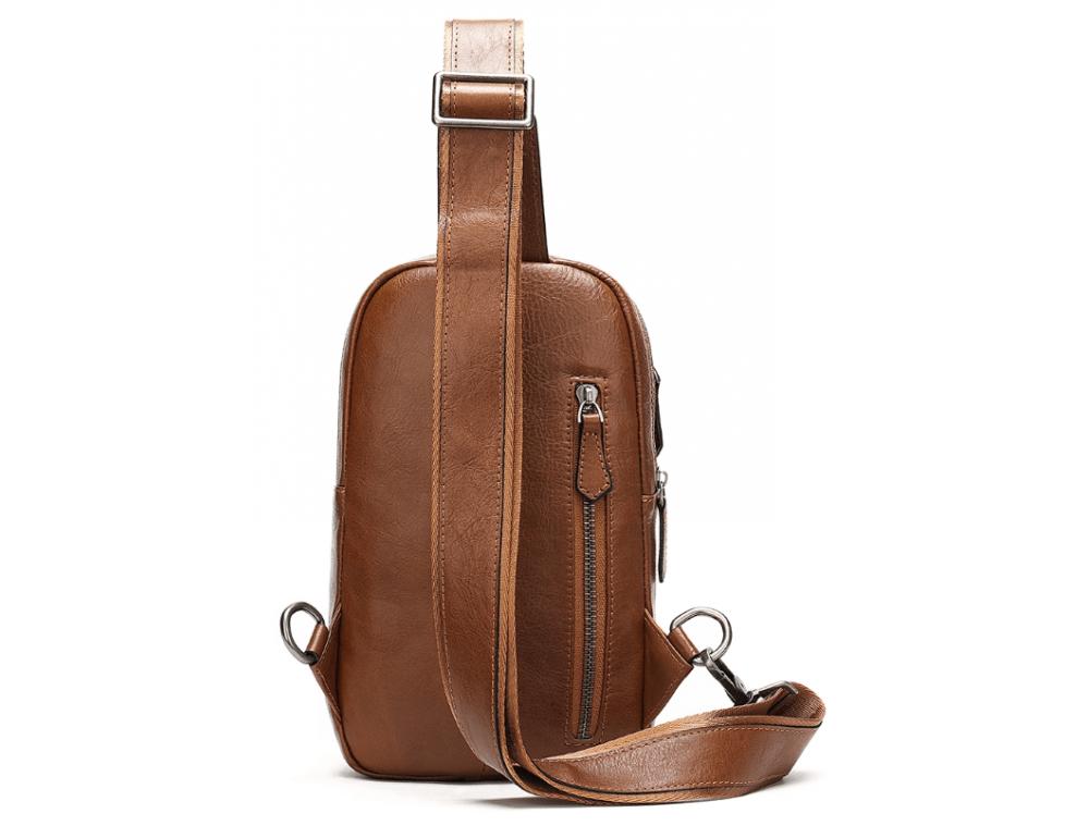 Коричневая кожаная сумка слинг Tiding Bag M7019C - Фото № 2